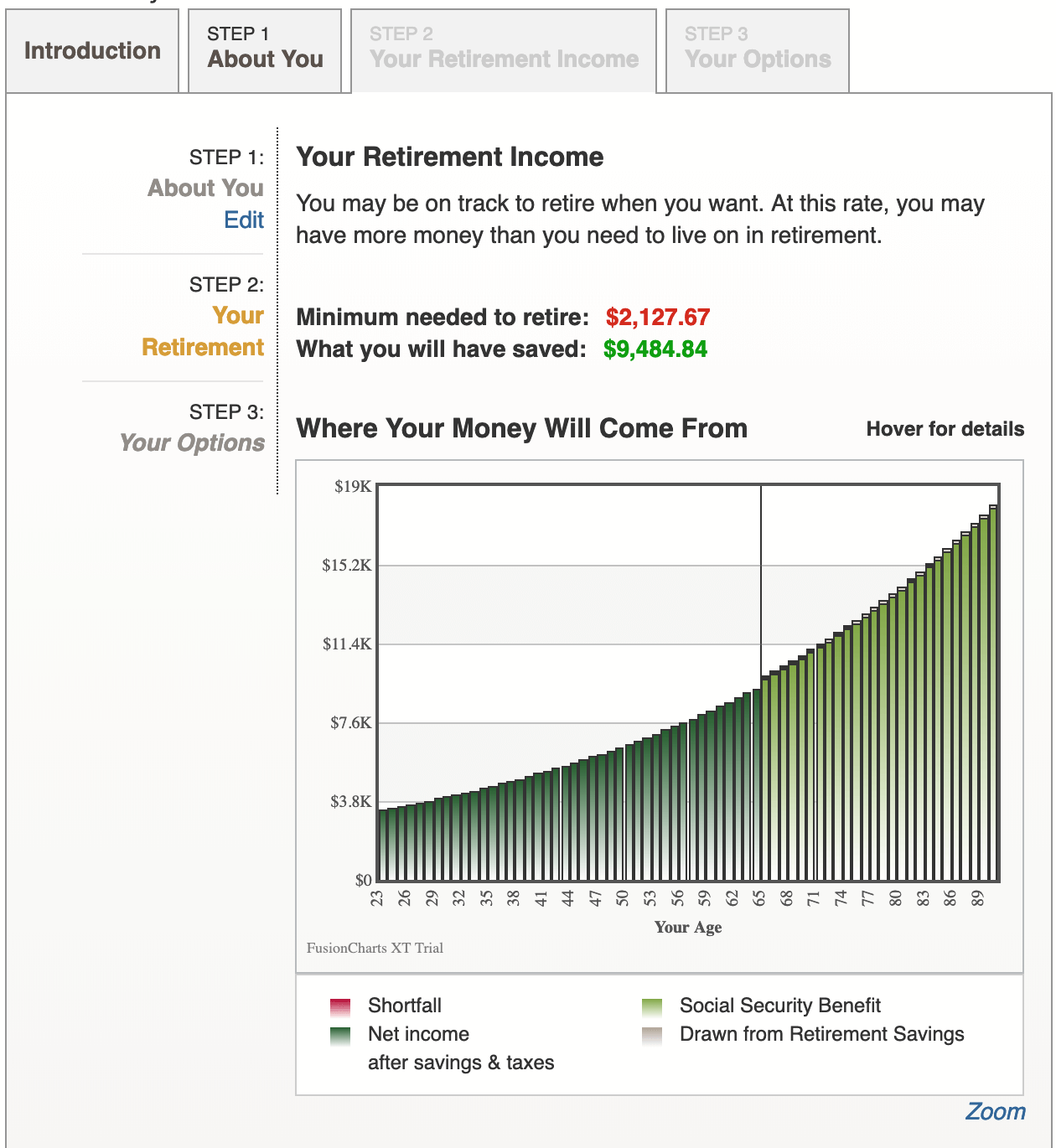 example of aarp's retirement calculator